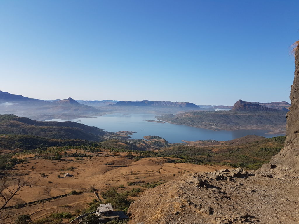 View of Pawna Lake from Lohagad Fort Trek Visapur
